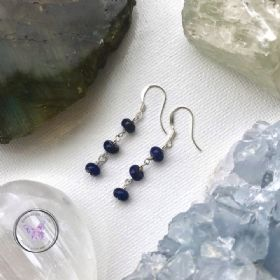 Lapis Lazuli Rondelle Dangle Earrings